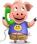Pig with T-Shirt Cartoon Vector Character AKA Ricky the Happy Piggy - Support 2