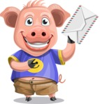 Pig with T-Shirt Cartoon Vector Character AKA Ricky the Happy Piggy - Letter