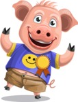 Pig with T-Shirt Cartoon Vector Character AKA Ricky the Happy Piggy - Ribbon