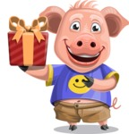 Pig with T-Shirt Cartoon Vector Character AKA Ricky the Happy Piggy - Gift