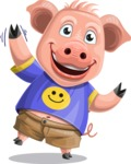 Pig with T-Shirt Cartoon Vector Character AKA Ricky the Happy Piggy - Wave