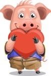 Pig with T-Shirt Cartoon Vector Character AKA Ricky the Happy Piggy - Love