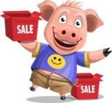 Pig with T-Shirt Cartoon Vector Character AKA Ricky the Happy Piggy - Sale