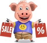 Pig with T-Shirt Cartoon Vector Character AKA Ricky the Happy Piggy - Sale 2
