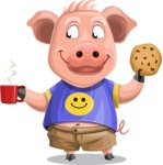 Pig with T-Shirt Cartoon Vector Character AKA Ricky the Happy Piggy - Coffee