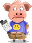 Pig with T-Shirt Cartoon Vector Character AKA Ricky the Happy Piggy - Calculator