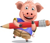 Pig with T-Shirt Cartoon Vector Character AKA Ricky the Happy Piggy - Pencil