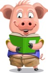 Pig with T-Shirt Cartoon Vector Character AKA Ricky the Happy Piggy - Book 1