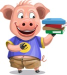 Pig with T-Shirt Cartoon Vector Character AKA Ricky the Happy Piggy - Book 2