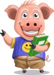 Pig with T-Shirt Cartoon Vector Character AKA Ricky the Happy Piggy - Book 3