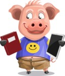 Pig with T-Shirt Cartoon Vector Character AKA Ricky the Happy Piggy - Book and iPad