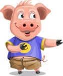 Pig with T-Shirt Cartoon Vector Character AKA Ricky the Happy Piggy - Showcase