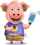 Pig with T-Shirt Cartoon Vector Character AKA Ricky the Happy Piggy - iPhone