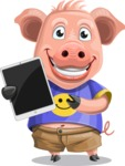Pig with T-Shirt Cartoon Vector Character AKA Ricky the Happy Piggy - iPad 1