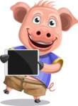 Pig with T-Shirt Cartoon Vector Character AKA Ricky the Happy Piggy - iPad 2