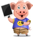 Pig with T-Shirt Cartoon Vector Character AKA Ricky the Happy Piggy - iPad 3
