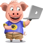 Pig with T-Shirt Cartoon Vector Character AKA Ricky the Happy Piggy - Laptop 1