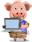Pig with T-Shirt Cartoon Vector Character AKA Ricky the Happy Piggy - Laptop 2