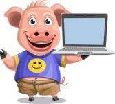 Pig with T-Shirt Cartoon Vector Character AKA Ricky the Happy Piggy - Laptop 3