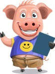 Pig with T-Shirt Cartoon Vector Character AKA Ricky the Happy Piggy - Notepad 2