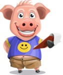 Pig with T-Shirt Cartoon Vector Character AKA Ricky the Happy Piggy - Notepad 3