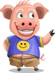 Pig with T-Shirt Cartoon Vector Character AKA Ricky the Happy Piggy - Showcase 2