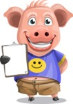 Pig with T-Shirt Cartoon Vector Character AKA Ricky the Happy Piggy - Notepad 4
