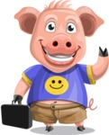 Pig with T-Shirt Cartoon Vector Character AKA Ricky the Happy Piggy - Briefcase 1