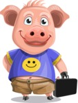 Pig with T-Shirt Cartoon Vector Character AKA Ricky the Happy Piggy - Briefcase 2