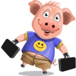 Pig with T-Shirt Cartoon Vector Character AKA Ricky the Happy Piggy - Briefcase 3