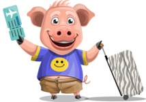 Pig with T-Shirt Cartoon Vector Character AKA Ricky the Happy Piggy - Travel 1