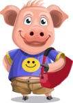 Pig with T-Shirt Cartoon Vector Character AKA Ricky the Happy Piggy - Travel 2