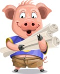 Pig with T-Shirt Cartoon Vector Character AKA Ricky the Happy Piggy - Plans