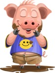 Pig with T-Shirt Cartoon Vector Character AKA Ricky the Happy Piggy - Mud