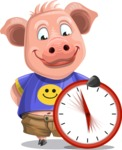 Pig with T-Shirt Cartoon Vector Character AKA Ricky the Happy Piggy - Time is Yours