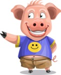 Pig with T-Shirt Cartoon Vector Character AKA Ricky the Happy Piggy - Show