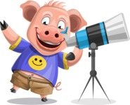Pig with T-Shirt Cartoon Vector Character AKA Ricky the Happy Piggy - Telescope