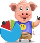 Pig with T-Shirt Cartoon Vector Character AKA Ricky the Happy Piggy - Chart