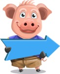 Pig with T-Shirt Cartoon Vector Character AKA Ricky the Happy Piggy - Pointer 2