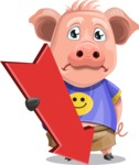 Pig with T-Shirt Cartoon Vector Character AKA Ricky the Happy Piggy - Pointer 3