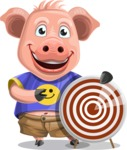 Pig with T-Shirt Cartoon Vector Character AKA Ricky the Happy Piggy - Target