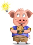 Pig with T-Shirt Cartoon Vector Character AKA Ricky the Happy Piggy - Idea 1