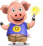 Pig with T-Shirt Cartoon Vector Character AKA Ricky the Happy Piggy - Idea 2