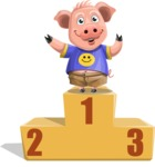 Pig with T-Shirt Cartoon Vector Character AKA Ricky the Happy Piggy - On Top