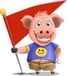Pig with T-Shirt Cartoon Vector Character AKA Ricky the Happy Piggy - Checkpoint