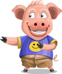 Pig with T-Shirt Cartoon Vector Character AKA Ricky the Happy Piggy - Show 2