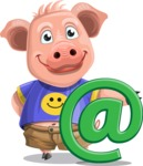Pig with T-Shirt Cartoon Vector Character AKA Ricky the Happy Piggy - Email