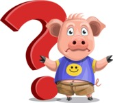 Pig with T-Shirt Cartoon Vector Character AKA Ricky the Happy Piggy - Question