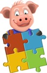 Pig with T-Shirt Cartoon Vector Character AKA Ricky the Happy Piggy - Puzzle