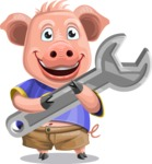 Pig with T-Shirt Cartoon Vector Character AKA Ricky the Happy Piggy - Repair